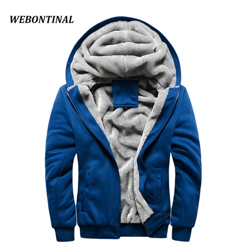 WEBONTINAL 2017 Brand Winter Warm Thick Velvet Male Hoodies Sweatshirts Men Coat Casual Zipper Cardigan Quality Hoody Man Hooded