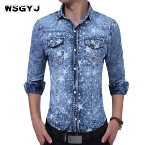 WSGYJ Brand 2017 Fashion Male Shirt Long-Sleeves High Quality Five - Star Prints Denim Shirt Mens Dress Shirts Slim Men Shirt