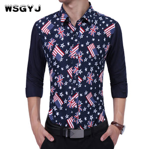 WSGYJ Brand 2017 Fashion Male Shirt Long-Sleeves High Quality Cotton Flag Printing Casual Shirt Mens Dress Shirts Slim Men Shirt