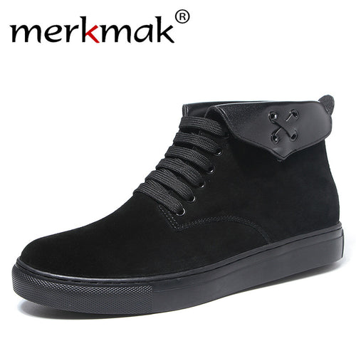 Merkmak Fashion Men Boots Suede Leather Quality Brand Snow Winter Boots Autumn Casual Ankle Boots