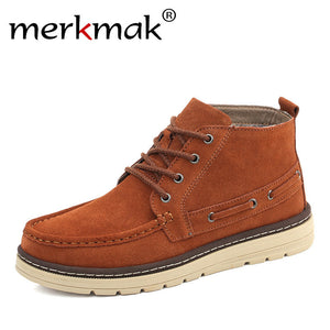 Merkmak Brand 2017 Autumn Winter Men Boots Cow Suede Leather Shoes For Men Fashion Footwear Ankle Boots Casual High Mens Shoes