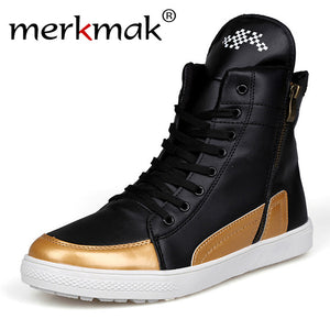 Merkmak 2016 High Top Men Boots New British Style PU Leather Autumn Winter Fashion Ankle Boots For Men Breathable Zapatos Hombre