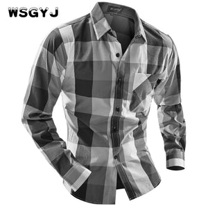 WSGYJ Brand 2017 Fashion Male Shirt Long-Sleeves Tops Fight Color Big Grid Classic Models Mens Dress Shirts Slim Men Shirt