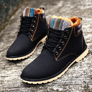 High Top Fashion Men Boots Warm Waterproof Military Winter Boots for Men Leather Tactical