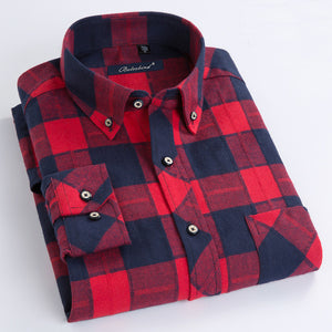 100% Cotton 2017 Hot New Men Plaid Long Sleeved Casual Shirts Flannel Regular Fit Spring Male Business Fashion Shirts
