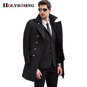 2017 S-3XL large size men wool coat long coat woolen coat erkek mont cappotto abrigo hombre peacoat winter coat Holyrising