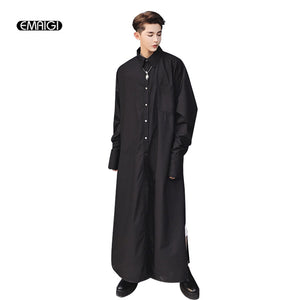 Men Super Long Shirt Male Fashion Show Robe Black White Long Sleeve Casual Pullover Dress Shirts Middle East Costumes