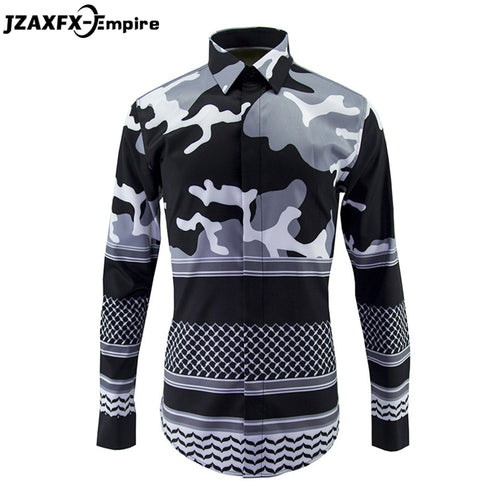 New Arrival Men Fashion Shirt Male Hip Hop Patchwork Design Shirt camisa masculina Long Sleeve Print Black White Camouflage