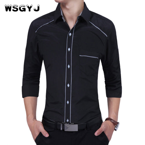 WSGYJ Brand 2017 Fashion Male Shirt Long-Sleeves Tops Oversize Business Shirt Tide Men Solid Color Dress Shirts Slim Men Shirt