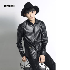Men Leather Shirt Male Fashion Casual Long Sleeve Shirt Coat