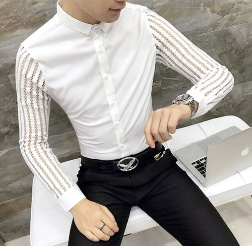 New all-match personality nightclub Men's long sleeve shirt Male fashion show lace Decorative Shirts Man stylist costumes Tops