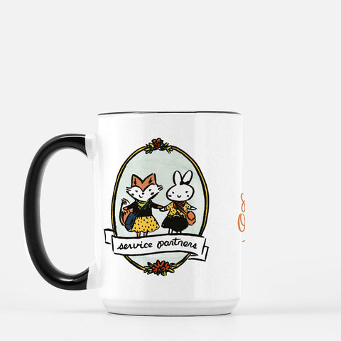 15oz Service Partners Fox Bunny Mug
