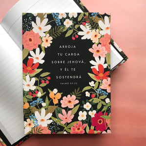 SPANISH -  Psalm 55:22 Throw Your Burden on Jehovah and He Will Sustain You - Hardcover Lined Journal Notebook