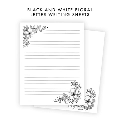 Printable Letter Writing Sheets - Black and White Anemone Floral