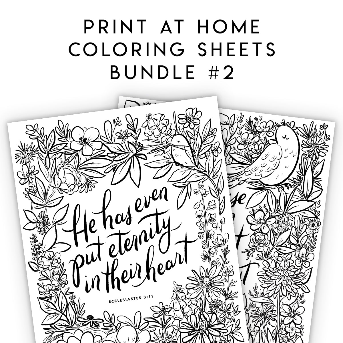 Print At Home Coloring Sheets - BUNDLE 2