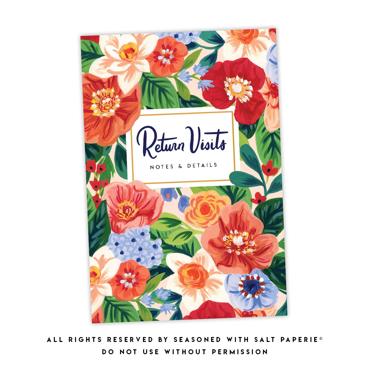 ENGLISH - GIFT SET WITH PEN - Return Visit Notebook - Rejoice Florals