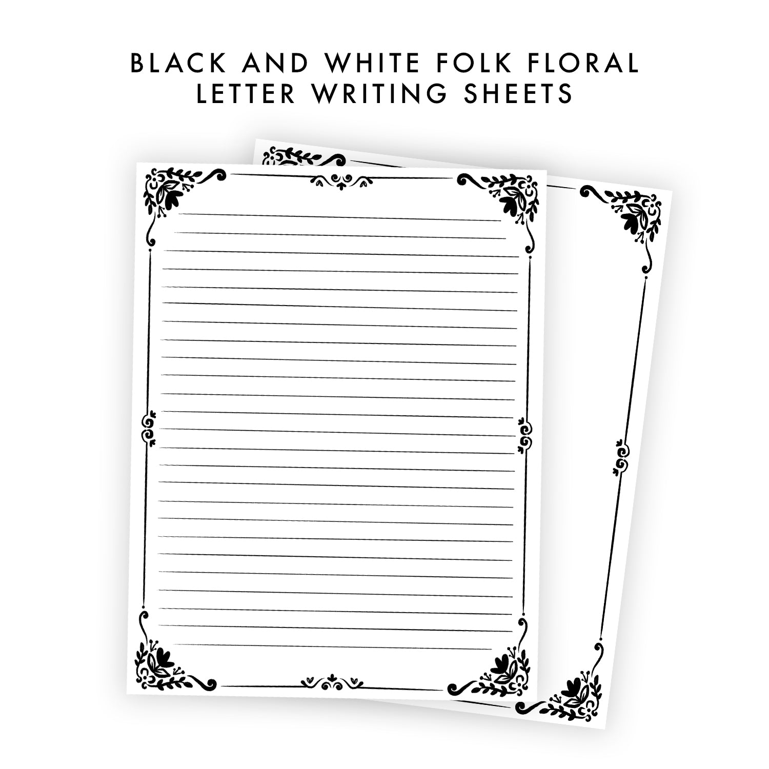 Printable Letter Writing Sheets - Folk Floral