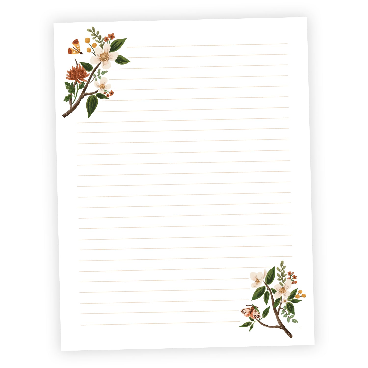 Fall Floral Printable Letter Writing Sheets