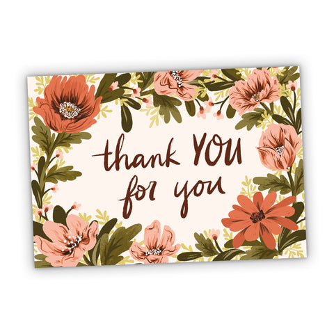 Thank You For You Floral Greeting Card