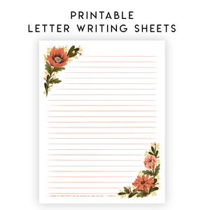 Printable Letter Writing Sheets - Throw all your anxiety on him, because he cares for you 1 Peter 5:7
