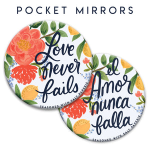 Love Never Fails 1 Corinthians 13:8 3 inch Pocket Mirror - JW Convention Gift