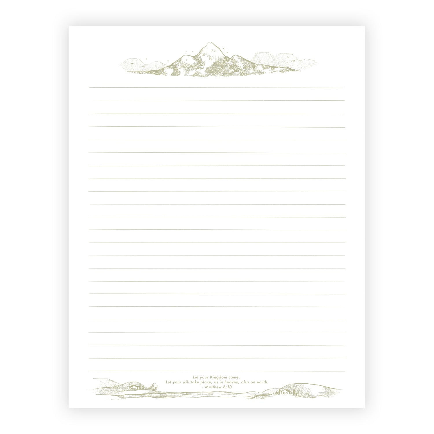 Printable Letter Writing Sheets - Mountain - Let your Kingdom Come - Matthew 6:10