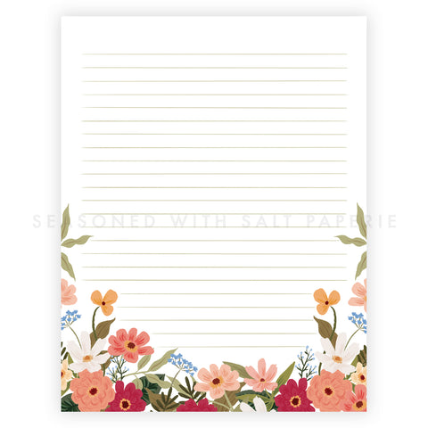 Summer Floral Letter Writing Pad