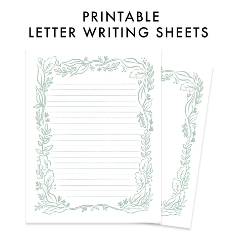 Printable Letter Writing Sheets - Sage Greenery Bundle