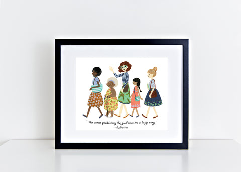 The Women Proclaiming The Good News Are A Large Army - Psalm 68:11 Illustrated 8x10 Print