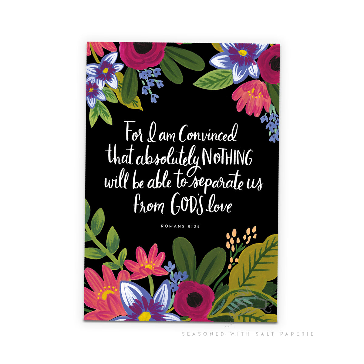 Floral A5 Notebook - For I Am Convinced... Romans 8:38 Scriptural Notebook