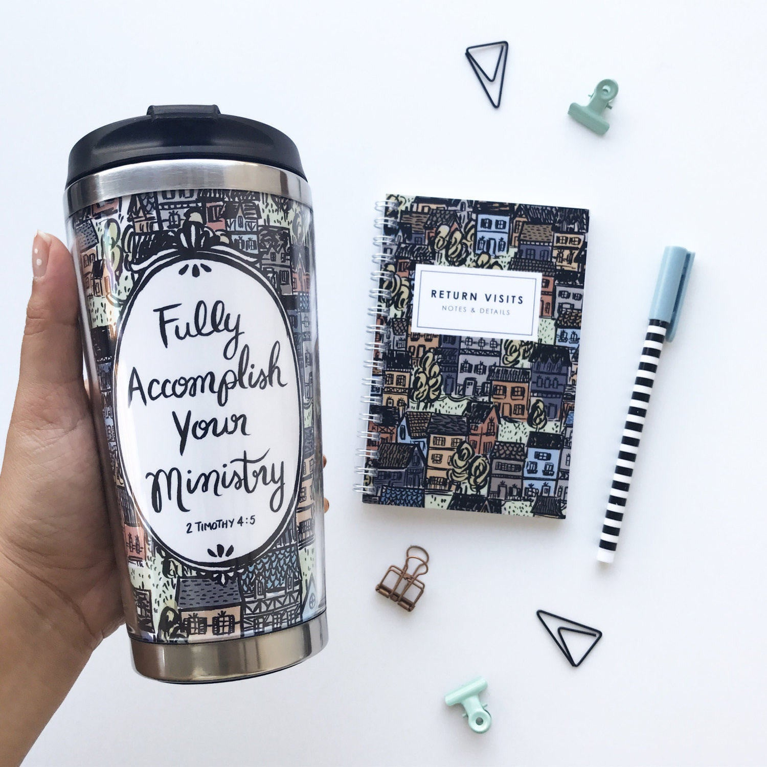 Fully Accomplish Your Ministry Pioneer Travel Mug Return Visit Book Gift Set