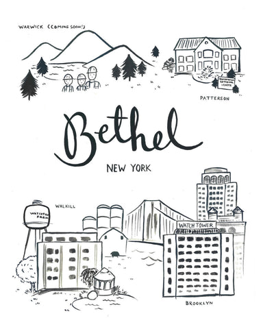 Bethel NY Illustration - 8x10 Giclee Print