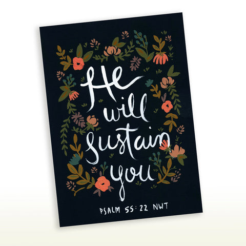 He Will Sustain You Psalms 55:22 Greeting Card