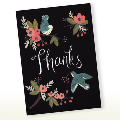 Thanks Card - Birds and Floral, Thank You Card