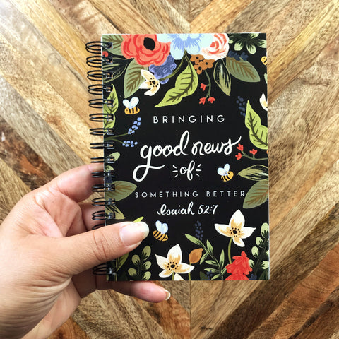 Return Visit Notebook - Dark Bee Floral, Field Service Records, JW Gift