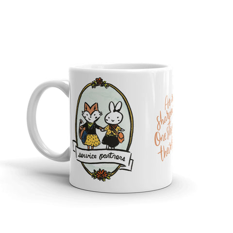 Fox and Bunny Sisters Service Partners for Life 10oz Mug