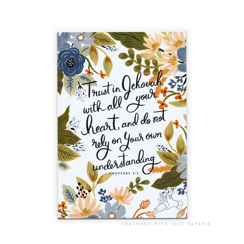 Floral A5 Notebook - Trust in Jehovah With All Your Heart... - Proverbs 3:5