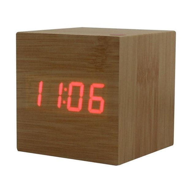Original Wood Square LED Alarm Clock