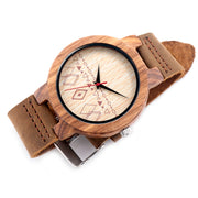 Diamond-face Wood & Leather Watch