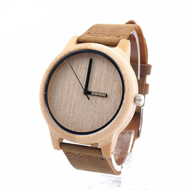 Minimal Bamboo & Soft Leather Watch