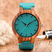 Blue Wood & Soft Leather Watch