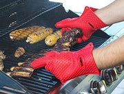 Heat Resistant Silicon Gloves - For BBQ, Oven and Any Heat - Waterproof