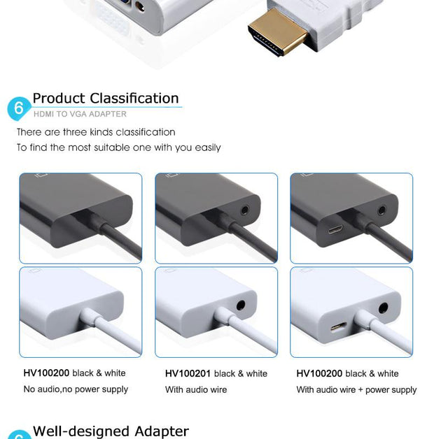 HDMI to VGA Adapter - Max Full HD output - High Quality