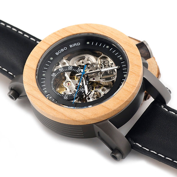 PREMIUM Plus Wood & Leather Watch