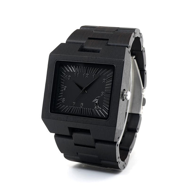 Ebony Square Wooden Watch