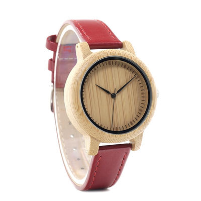 Bamboo & Red Leather Watch