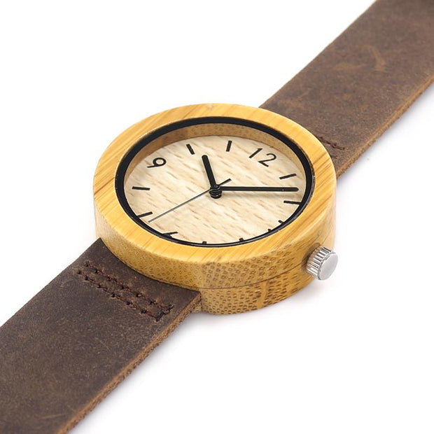 Bamboo Watch With Yellow outline