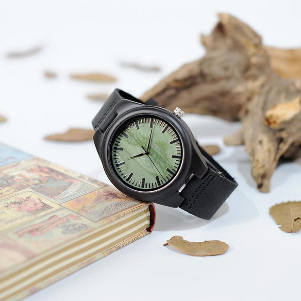Ebony Wood & Leather Watch (Green face)