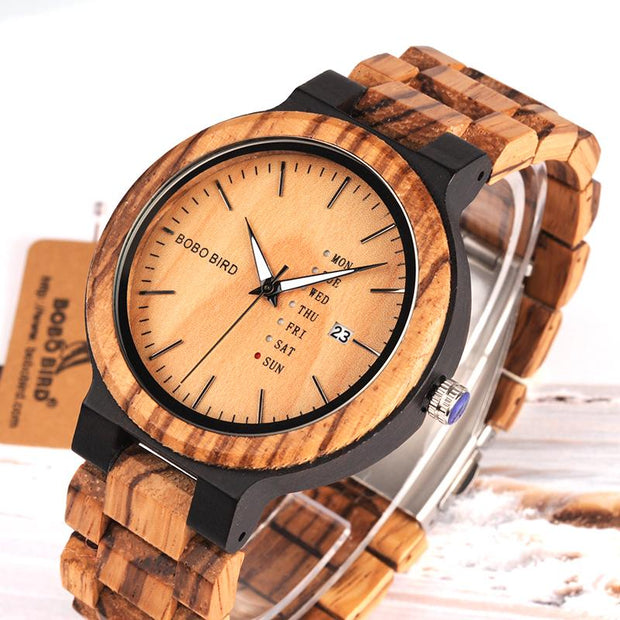 Premium Two Tone Wooden Watch with Date