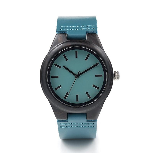 Blue Wood & Leather Watch